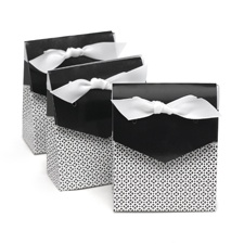 Black Flap Patterned Favor Boxes