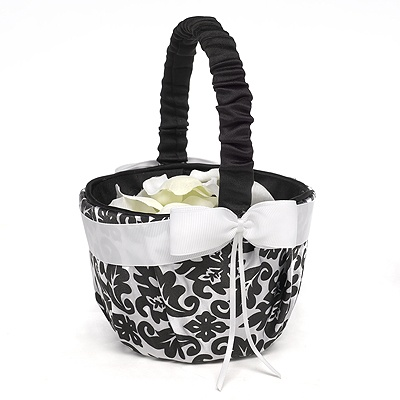 Elegant Black Damask Flower Basket
