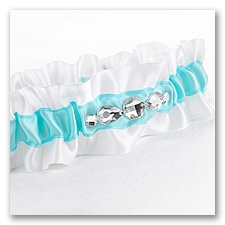 Aqua Dramatic Bling Wedding Garter