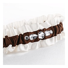 Brown Dramatic Bling Weding Garter
