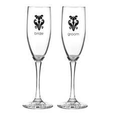 Black Damask Toasting Flutes