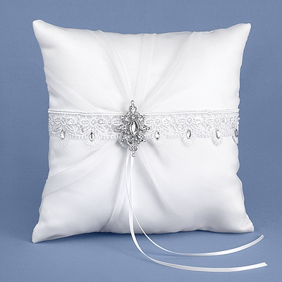 Rhinestone Elegance Ring Pillow