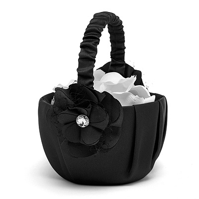 Floral Glam Flower Basket - Black