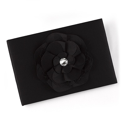 Floral Glam Guest Book - Black