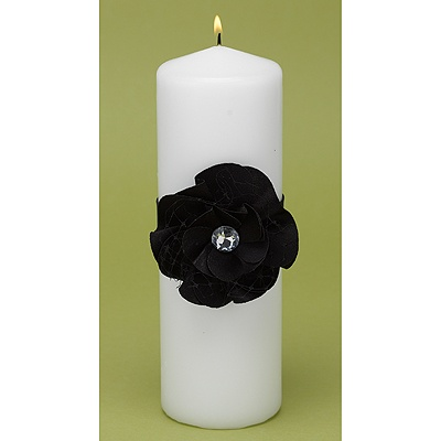 Floral Glam Unity Candle - Black