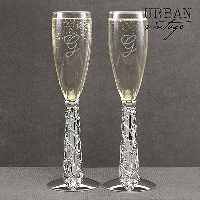 Ornate Hearts Wedding Toasting Flutes