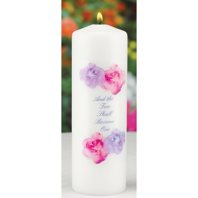 Watercolor Roses Unity Candle