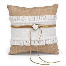 Burlap Beauty Ring Pillow