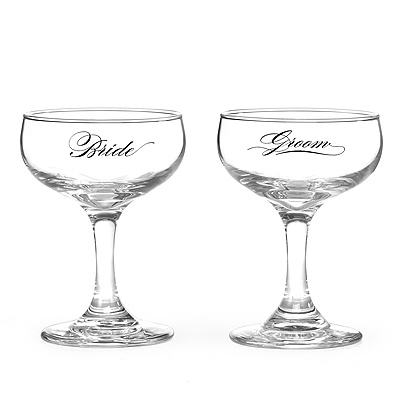 Calligraphy Champagne Glasses