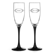 Black Filigree Wedding Toasting Flutes