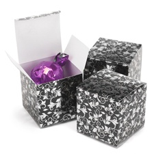 Foil Filigree - Black and Silver - Favor Boxes