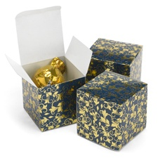 Foil Filigree - Navy and Gold - Favor Boxes
