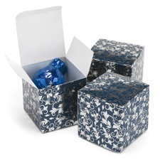Foil Filigree - Navy and Silver - Favor Boxes