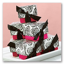 Fuchsia Damask Favor Boxes