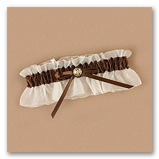 Chocolate Satin Wedding Garter
