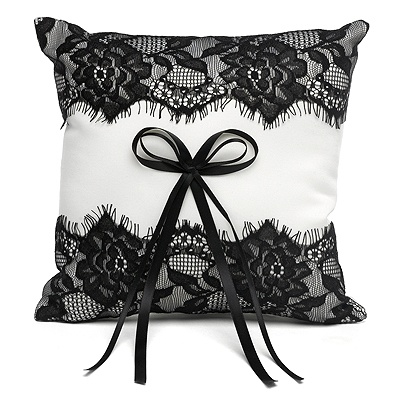 Vintage Black Lace Ring Pillow
