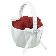 With All My Heart - White Satin Basket