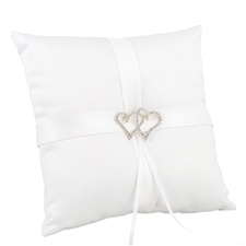 With All My Heart - White Satin Pillow