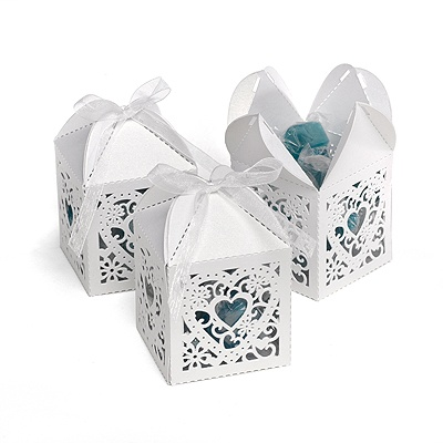 White Lacy Heart Favor Boxes