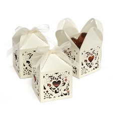 Ivory Lacy Heart Favor Boxes
