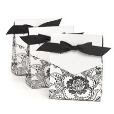 White Dramatic Floral Favor Boxes
