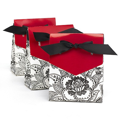 Red Dramatic Floral Favor Boxes