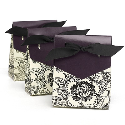 Purple Dramatic Floral Favor Boxes