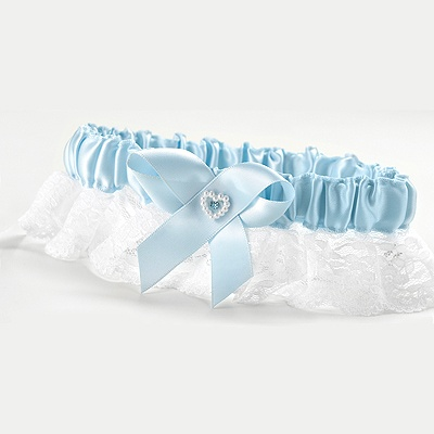 Blue Full Figure Wedding Garter