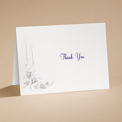 Dearly Beloved - Purple - Thank You Card With Verse And Envelope