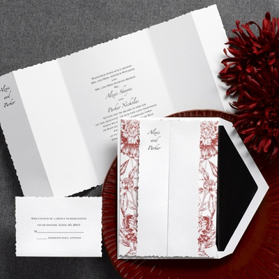 Botanical Beauty - Crimson Red - Invitation
