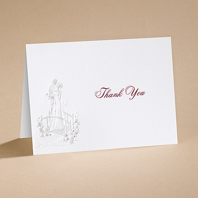 Love's Journey with Claret Accents - Thank You Card with Verse and Env