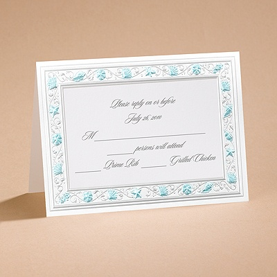 Gathering Seashells - Turquoise - Respond Card and Envelope