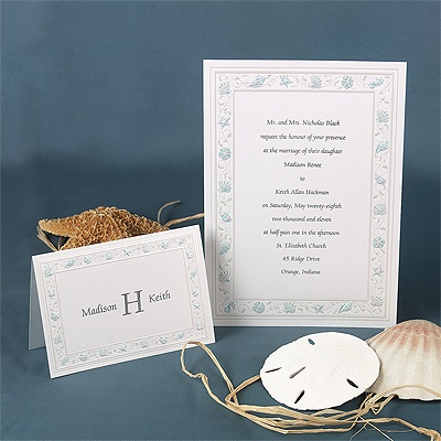 Gathering Seashells - Aqua - Invitation