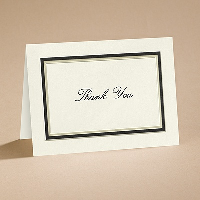The Edge - Ecru with Black - Thank You Card and Envelope