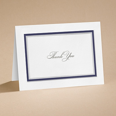 Bright Border - Navy - Thank You Card and Envelope