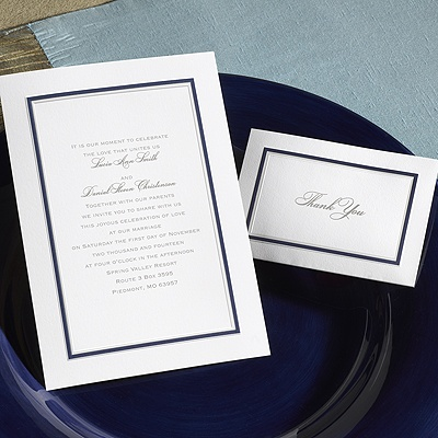 Bright Border - Navy - Invitation