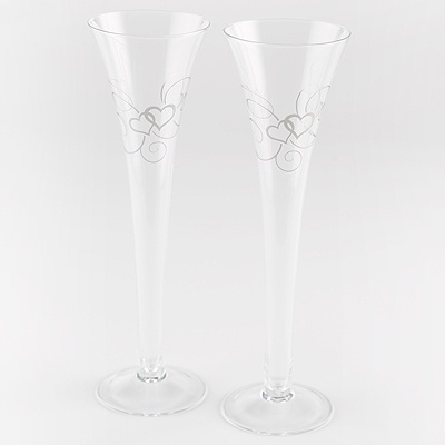 Silver Scroll Hearts Toasting Flutes