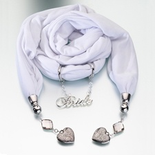 White Bridal Scarf with Charms