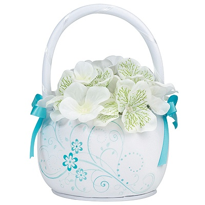 Aqua Floral Flower Basket