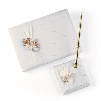 Seashell Guest Book and Pen Set