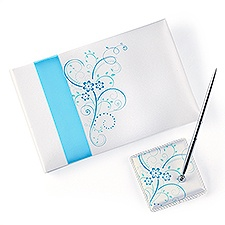 Aqua Floral Guest Book and Pen