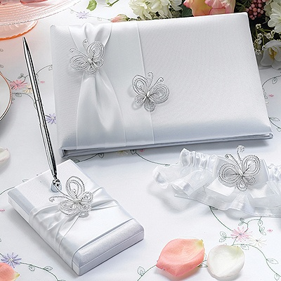 Romantic Butterflies Guest Book and Pen