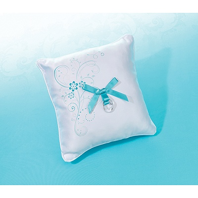Aqua Floral Ring Pillow