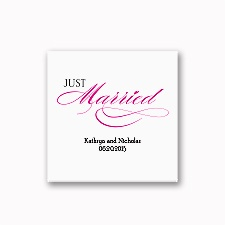 Just Married - White Cocktail Napkin