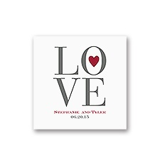 Love Letters - White Cocktail Napkin