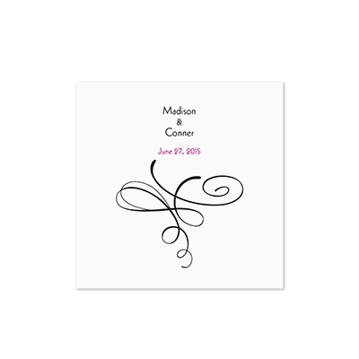 Calligraphy Swirls - White Cocktail Napkin