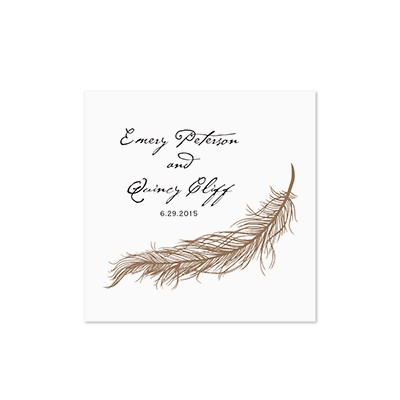 Fanciful Feather - White Cocktail Napkin