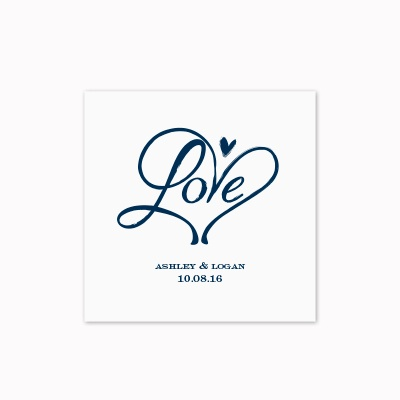 Loving Hearts - White Cocktail Napkin