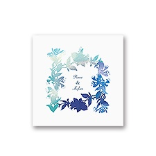 Watercolor Shades - Navy - White Cocktail Napkin