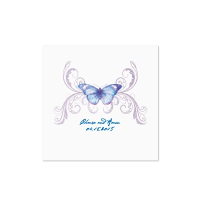 Delicate Butterfly - Blue - White Cocktail Napkin